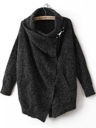 Gratis verzending nieuwe herfst dame/herfst hete verkopen fashion zwart ouch revers lange mouw sweater van de