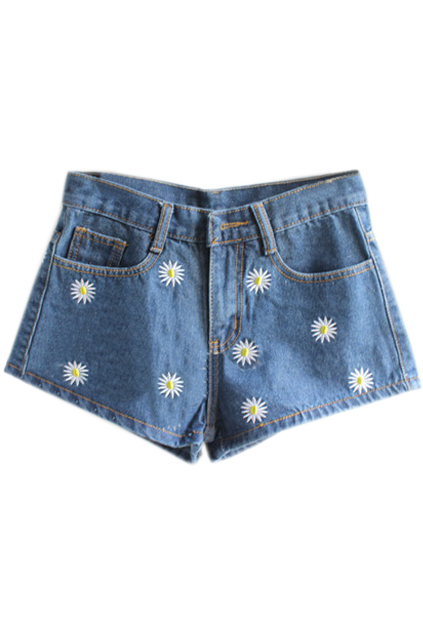 ROMWE | Retro Daisy Embroideried Dark-colored Shorts, The Latest Street Fashion