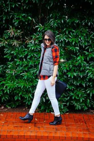 kendi everyday blogger bag sunglasses down jacket flannel shirt white jeans winter outfits top jacket jeans shoes jewels quilted vest