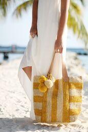 bag,pompom bag,pom poms,basket bag,beach bag,yellow bag,white maxi dress,pompom basket bag,maxi dress