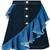 House Of Holland frilled denim skirt, Women's, Size: 14, Blue, Cotton/Spandex/Elastane