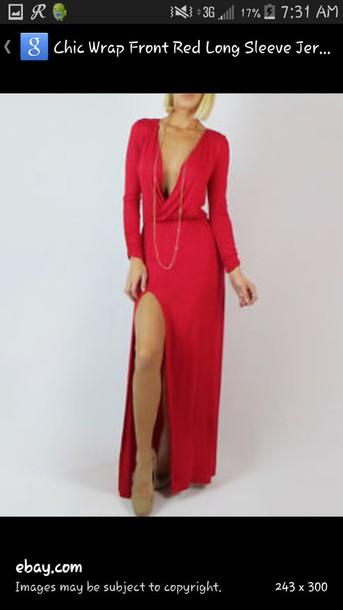 dress red dress long sleeve dress slit dress long dress