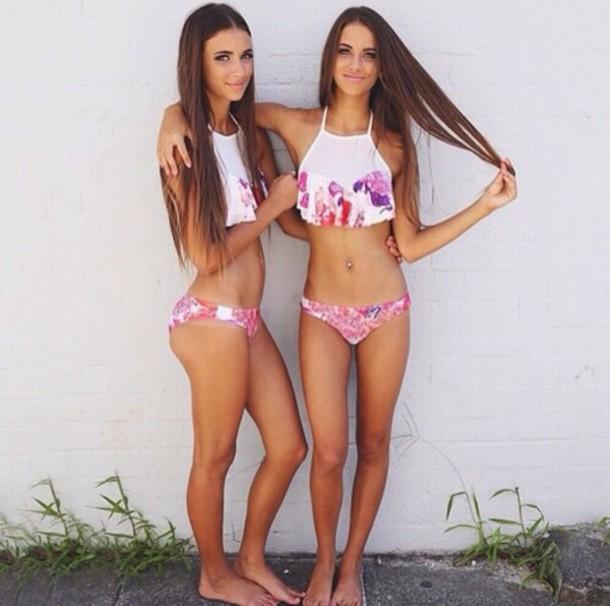 swimwear white swimwear halter neck cute crop bikini floral pink swimmwear