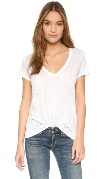v neck white top