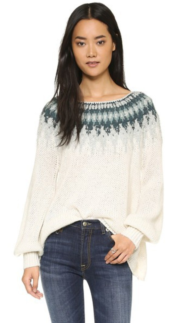 Free People Georgia V Sweater - Blue - Wheretoget