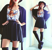 skirt,puff,black,shirt,shoes