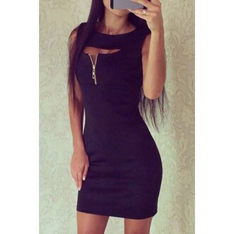dress little black dress hot black zip sexy dress night dress black dress sexy cool