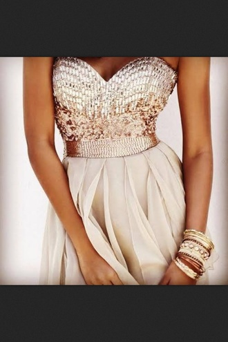 gold dress sequin dress sequins dress pink beige dress prom dress pearl gold champagne dress long dress long prom dress glitter nude dress glitter dress girly holidays cream paillettes gold sequins white and gold dress prom gown princess dress princess beautiful jumpsuit leggings jewels