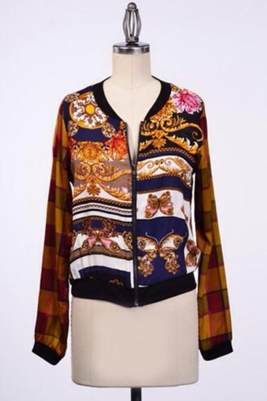 shirt zipper jacket barock print fall outfits long sleeve