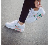 shoes,nike x b floral air max 90,nike,customised,air max,nike air max 90,white,floral,flowers,trainers,nike shoes