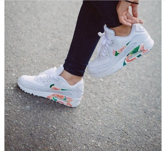 shoes nike x b floral air max 90 nike running shoes nike free run nike customised air max nike air max 90 white floral flowers trainers nike shoes white shoes sneakers low top sneakers