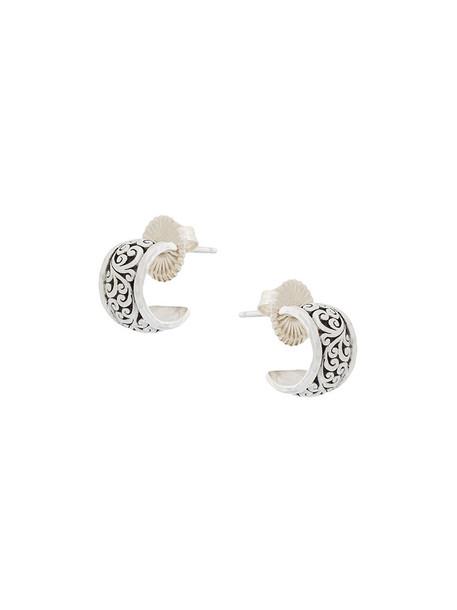 Lois Hill women earrings hoop earrings silver grey metallic jewels