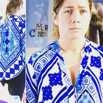 blouse hollyoaks nikki sanderson blue white united kingdom