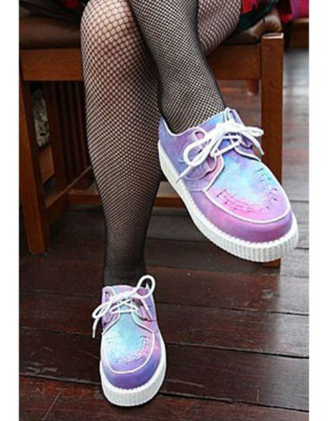 shoes creepers purple pink blue white flats grunge soft grunge pale colorful grunge shoes cute pastel platforms instagram pastel goth