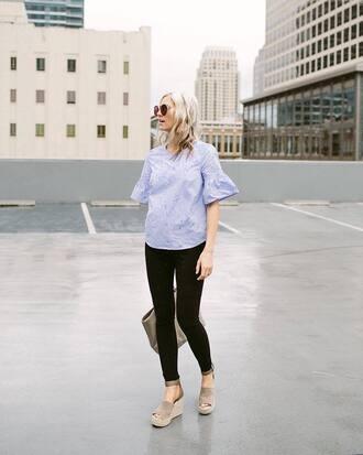 top tumblr blue top denim jeans black jeans sandals wedges wedge sandals sunglasses shoes