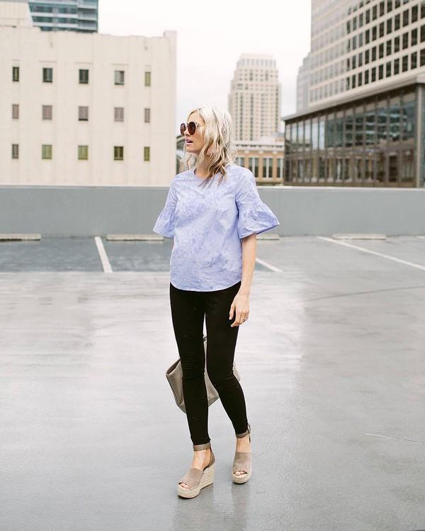 6f04560e8d42 top tumblr blue top denim jeans black jeans sandals wedges wedge sandals  sunglasses shoes