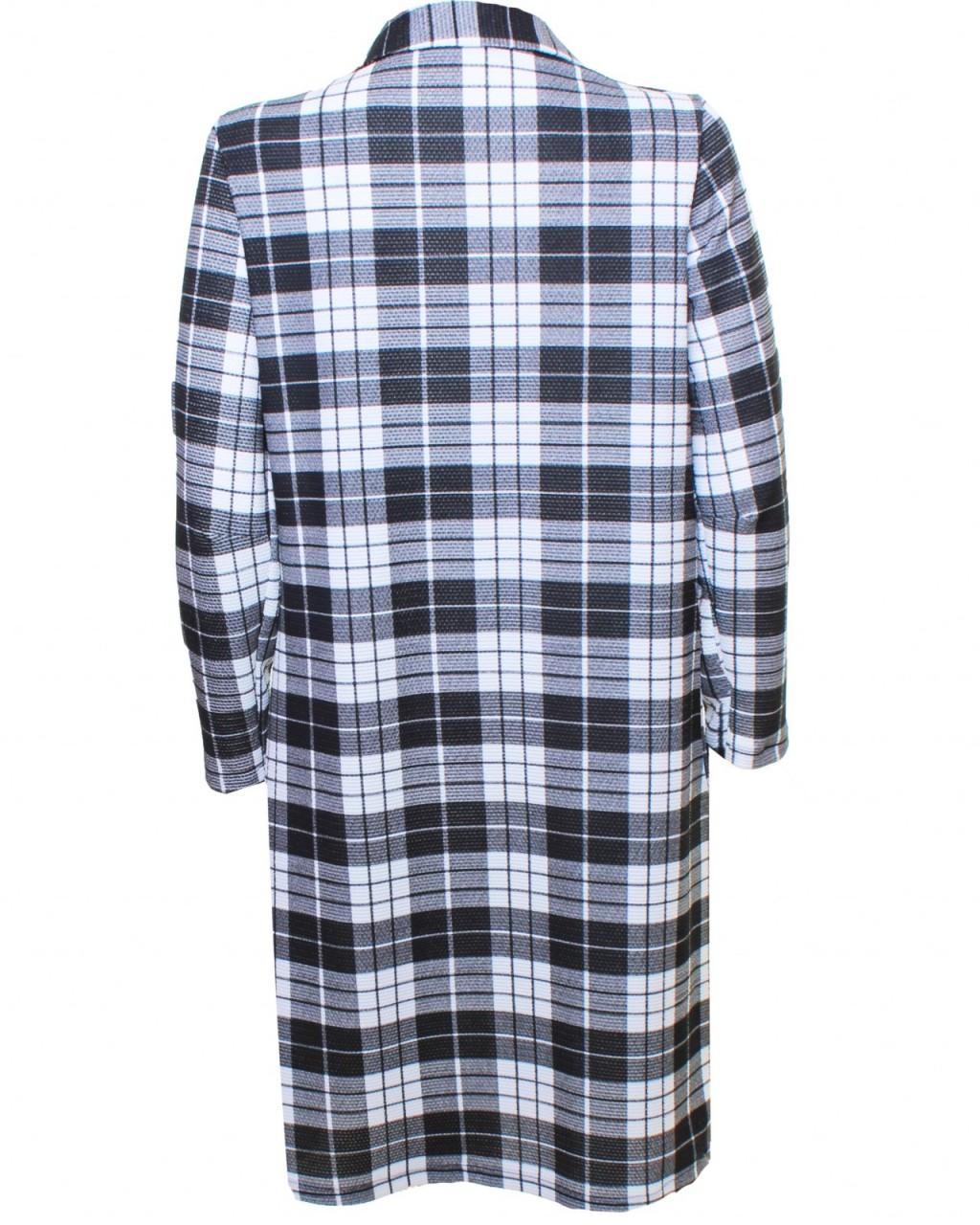 LOVE Black & White Tartan Long Jacket