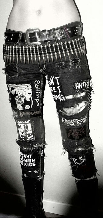 jeans ripped jeans punk patches skull quote on it dark shredded bullet belt belt