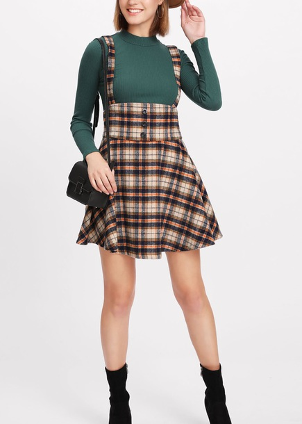 dress girly plaid plaid dress suspenders overalls overall dress
