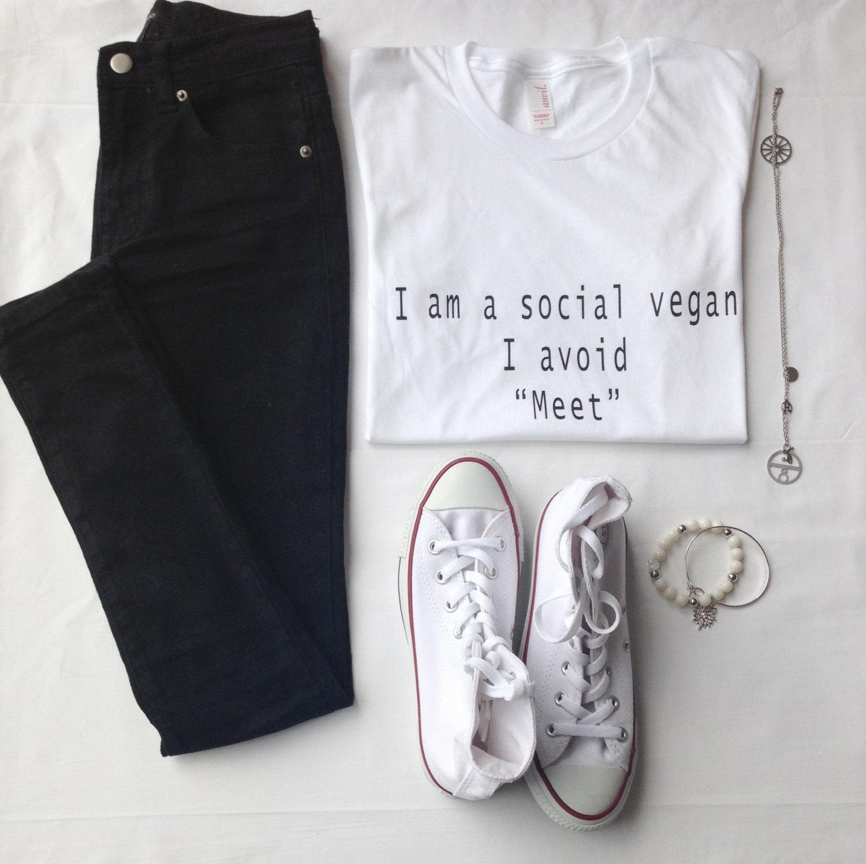 I Am A Social Vegan I Avoid Meet Tshirt Tumblr Shirt Tumblr Saying Vegan Shirt