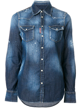 shirt denim shirt denim women spandex cotton blue top