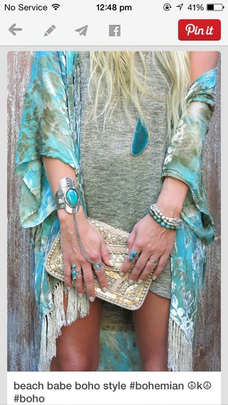 cardigan turquoise summer outfits gypsy boho hippie jewels jacket