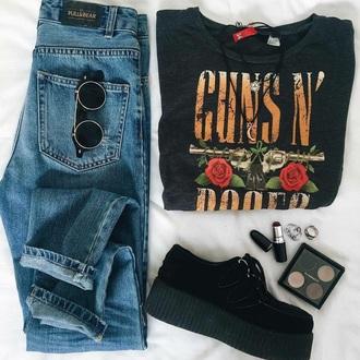 t-shirt grunge guns and roses creepers sunglasses black