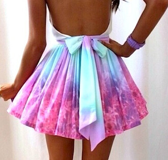 skirt skirt pastel tie dye bow ombre rainbow spring summer skirt skater skirt summer dress summer tie dye bows