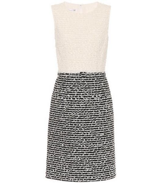 Oscar de la Renta Wool and cotton-blend shift dress in black