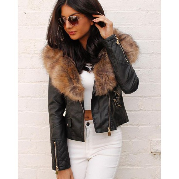 Images of Leather Jacket With Fur - Reikian