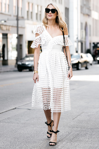 fashionjackson blogger dress bag shoes sunglasses jewels white dress midi dress sandals high heel sandals spring outfits