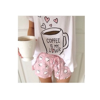 shirt coffee pajamas mug galentines day shorts pink white girly t-shirt pjamas lovely nightwear heart cute pyjama shorts cofee