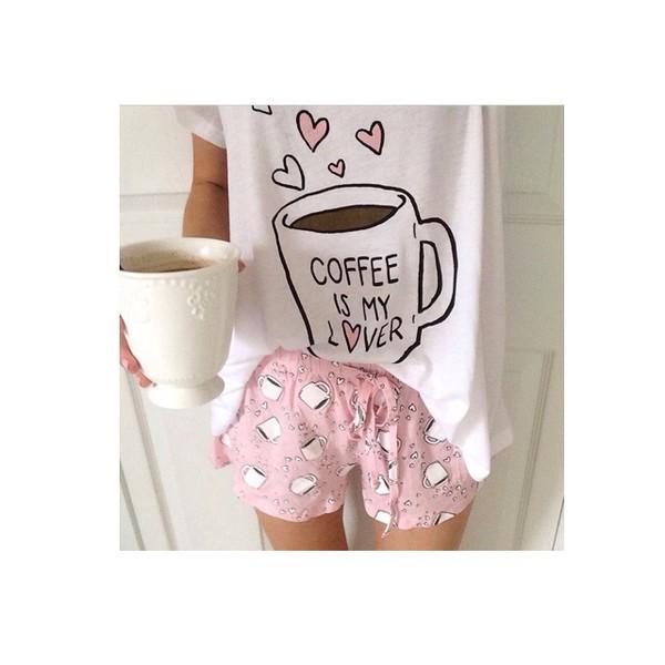 shirt coffee pajamas mug galentines day shorts pink coffee white pajamas pajamas girly t-shirt pjamas lovely nightwear heart coffee cute pyjama shorts pajamas cofee