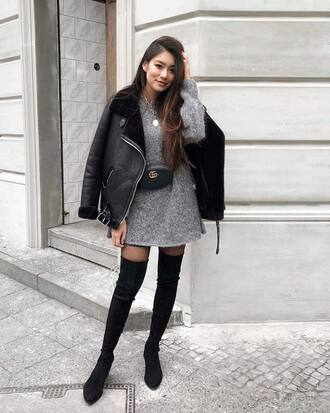 dress tumblr mini dress knit knitwear knitted dress sweater dress belt bag jacket black jacket boots black boots over the knee boots over the knee