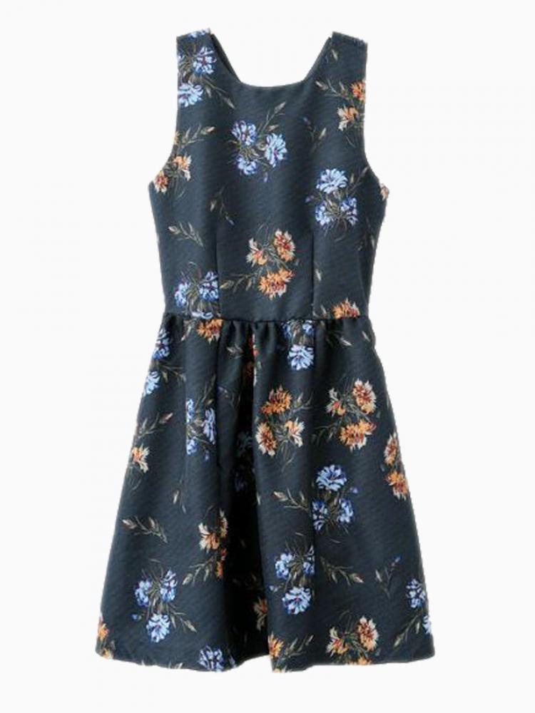 Vintage Cut Out Floral Skate Dress In Blue   Choies
