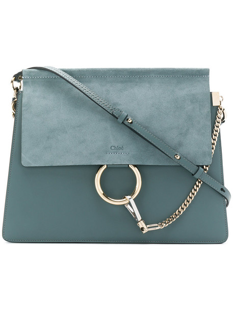 women bag shoulder bag leather blue suede