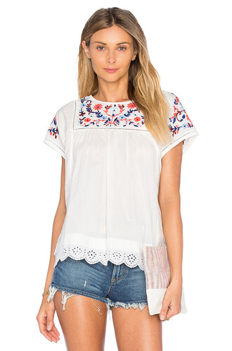 top short embroidered white