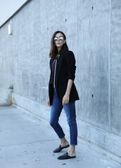 inspades,blogger,jacket,tank top,jeans,shoes,sunglasses,loafers,blazer,fall outfits