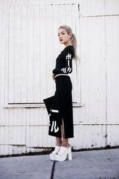 top,tumblr,black top,maxi skirt,black skirt,long sleeves,matching set,mules,white shoes,platform shoes,goth shoes,street goth