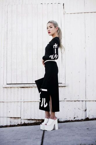 top tumblr black top maxi skirt black skirt long sleeves matching set mules white shoes platform shoes goth shoes street goth