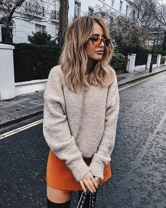 sweater knit nude sweater cozy sweater knitwear knitted sweater orange mini skirt skirt