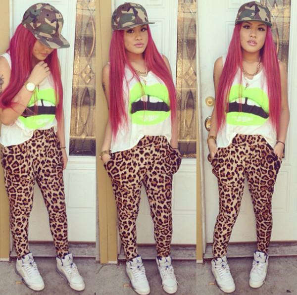 pants clothes leopard print harem pants shirt
