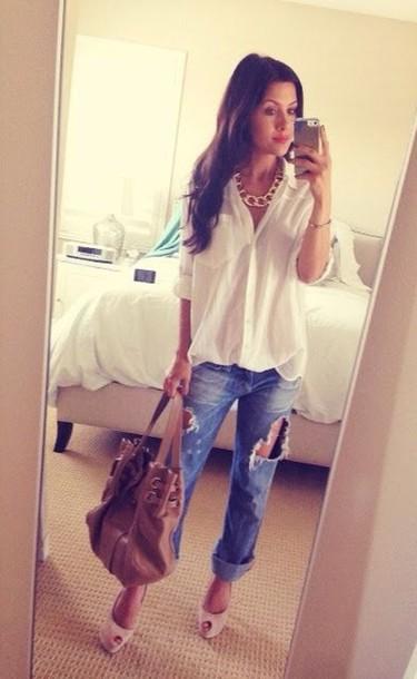 shirt jeans blouse white shirt