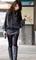 Elegant special collar frills long sleeves dress for women (dark grey,one size)