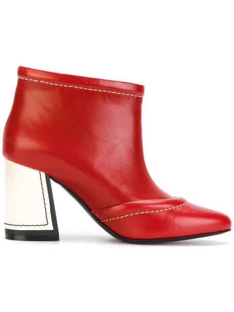 heel women booties leather red shoes