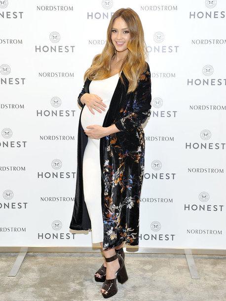 dress midi dress jessica alba coat robe platform sandals maternity maternity dress