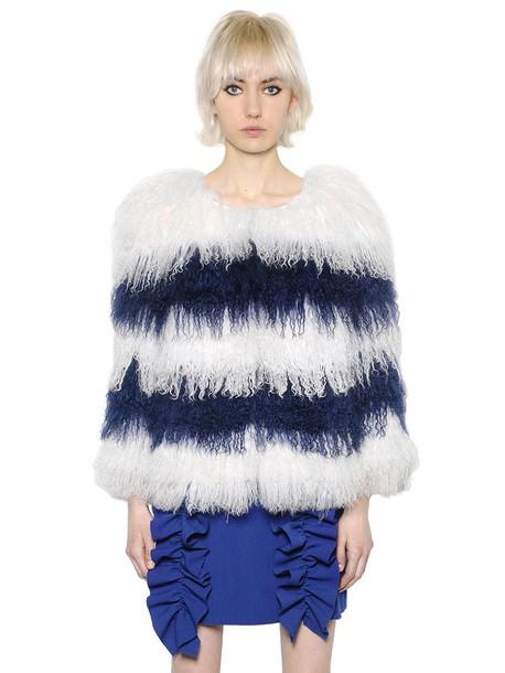 MSGM Striped Mongolia Fur Jacket in blue / white
