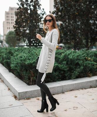 sweater tumblr grey sweater lace up knit knitwear knitted sweater leggings black leggings boots black boots sunglasses