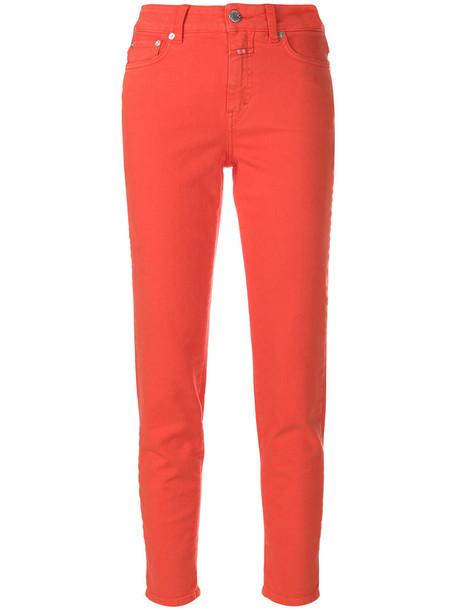 Closed women spandex fit cotton yellow orange pants