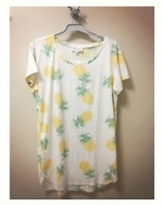 dress white yellow green orange pineapple casual cotton scoop neck